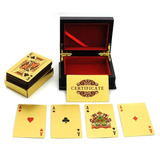Nuevo K 24 Quilates Hoja De Oro Poker Naipes Con Caja De Mad