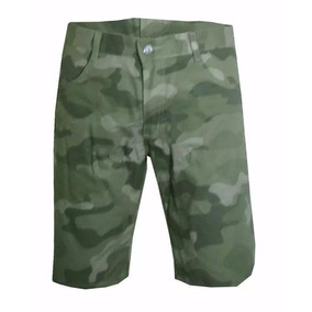 Short Bermuda Camuflada De Sarja Masculina Exército