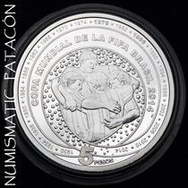 Moneda Argentina De Plata Mundial Brasil Proof - Certificado