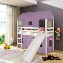 Cama Infantil Com Escorregador Tenda Castelo Lilás E Telhado