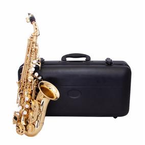 Sax Soprano Curvo Zion Sc310l Laqueado Com Estojo E Boquilha