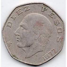 Moneda Dies $10 Pesos Hexagonal Hidalgo 1977 C11