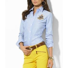 Genial Camisa Blusa Polo Ralph Lauren Azul Logo Dama Mujer