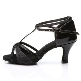 Hroyl W7-w09 Negro Satinado Zapatos De Baile Latino 7.5 B...