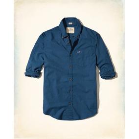 Hollister Camisa De Poplin Lisa Color Azul Marino