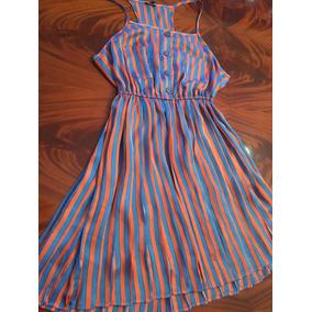 Vestido Corto De Seda Bicolor Importado Divino Talle M