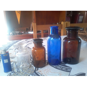 Antiguos Cuatro Frascos De Farmacia