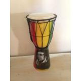 Djembe 25 Cm - Madera Resistente - Diseño Bob Marley