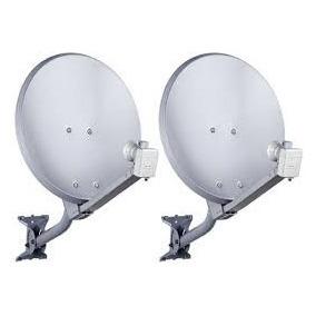 Kit De Duas Antenas De 60 Cm Com Lnb Duplo Universal