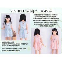 Vestido Niña Coreano Vintage Importados Glamour Niña