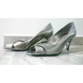 Zapatos / Tacones Arezzo Nuevos Plateados O Gris Plomo