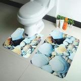 Claf. Set 3 Piezas Piso De Baño Diseño Conchas Marinas