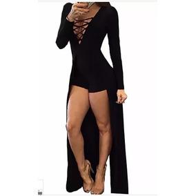 Macaquinho Feminino Modelo Vestido Longo Com Fenda Rf: 0105