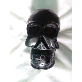 Cráneo Con Mandíbula Articulada 100 % Jade Negro.