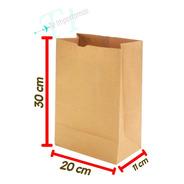 Bolsa Delivery Papel Kraf  20x30x11 Cm. Ecologicas X 100 U.
