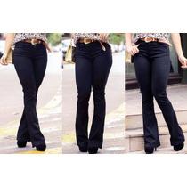 Calça Flare Jeans Cintura Alta Hot Pant + Calcinha De Brinde