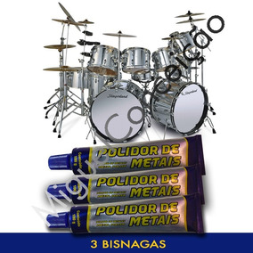 3 Polidor Metal Instrumentos Musicais Bateria Pedais Pratos