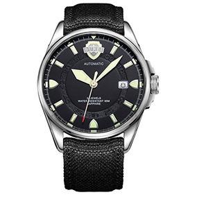 Burei Unisex Canvas Field Watch Automatic Luminous Black Dia