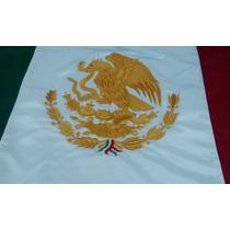 Bandera Mexico Bordada Doble Vista 90x1.58 Reglamentaria Oro