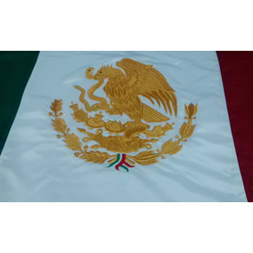 Bandera Mexico Bordada Oro Doble Vista 60x1.05 Preescolar