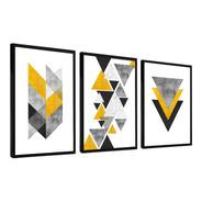 Quadro Moldura Lisa 120x60 Abstrato Tons Amarelo