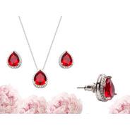 Colar + Brinco Pedra Vermelha Banhados - Super Promoção