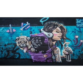 Painel De Festa Graffiti Dogs-300x170cm