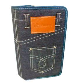 2 Un Organizador Porta Cd Dvd Blu-ray Maleta Jeans 80 Mídias