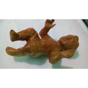 Escultura Tallado A Mano Niño Dios De 15 Cm.madera De Cedro