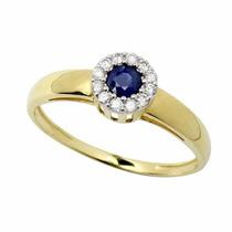 Anel Formatura Contabilidade Safira Azul Feminino Ouro 21060