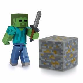 Boneco Zombie Minecraft Figura Articulada E Acessórios