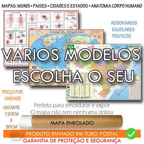 Mapa Mundi Brasil Pais Corpo 120cm Enrolado Tubo Escolha