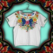 Blusa M Bordado A Mão Floral Floral Bordada