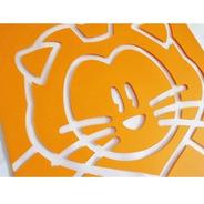 Cuadro De Pared Infantil Leon Naranja Acrilico 20x20 Cm