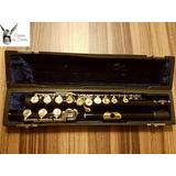 Flauta Transversal Sterling Preta Ch Douradas Abertas Pé Si