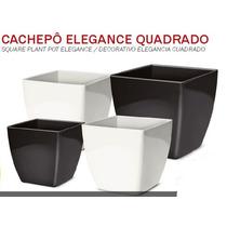 Cachepo Elegance Quadrado N2 Preto