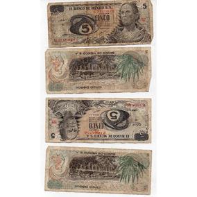 Billete Antiguo México De Cinco Pesos Maltratado 1970 S1