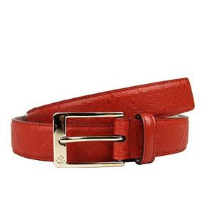 Gucci Hombres Cuero Diamante Cuadrado Hebilla Cinturón (90