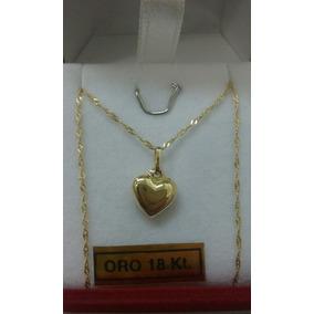 Conjunto Oro 18 Kilates Cadena Y Dije Corazón Chiquito