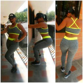 Conjunto De Dama Deportivo Leggins Licra Croptop Fitness Gym