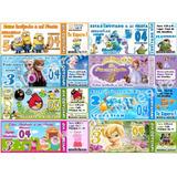 Tarjeta Invitación Infantiles Ticket Diseño Personalizado