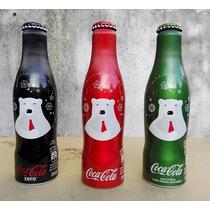 Set 3 Botellas Coca Cola Aluminio Navidad Brasil 2016 Vacías