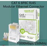 Caja De 100 Conectores Rj45 Cat 6 1gbps 250mhz