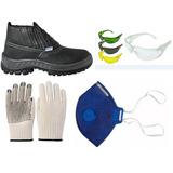 Botina De Segurança Mascara Óculos E Luva - Kit De Epis