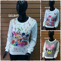 Blusas Blusones Sueter Rasgadas Estampados Mickey/hellokitty