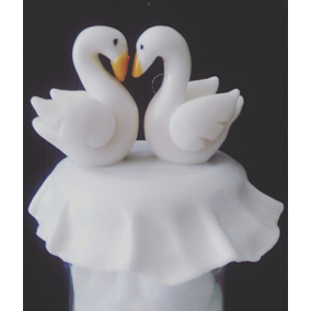 Frasco Cisnes Porcelana Fría Decoración Souvenirs Casamiento
