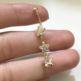 Piercing Umbigo 3 Estrelas Zirconia Branca Ouro 18k-750