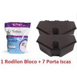1 Rodilon Bloco Bayer 1kg 7 Porta Iscas Veneno Rato Raticida