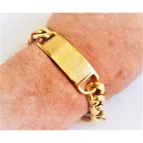 Pulseira Aco Masculina Dourada Com Placa Aro Grumete
