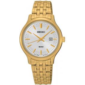41a771431f9 Relógio Feminino Seiko V115ab 4 Dourado C  Mostrador Preto ...